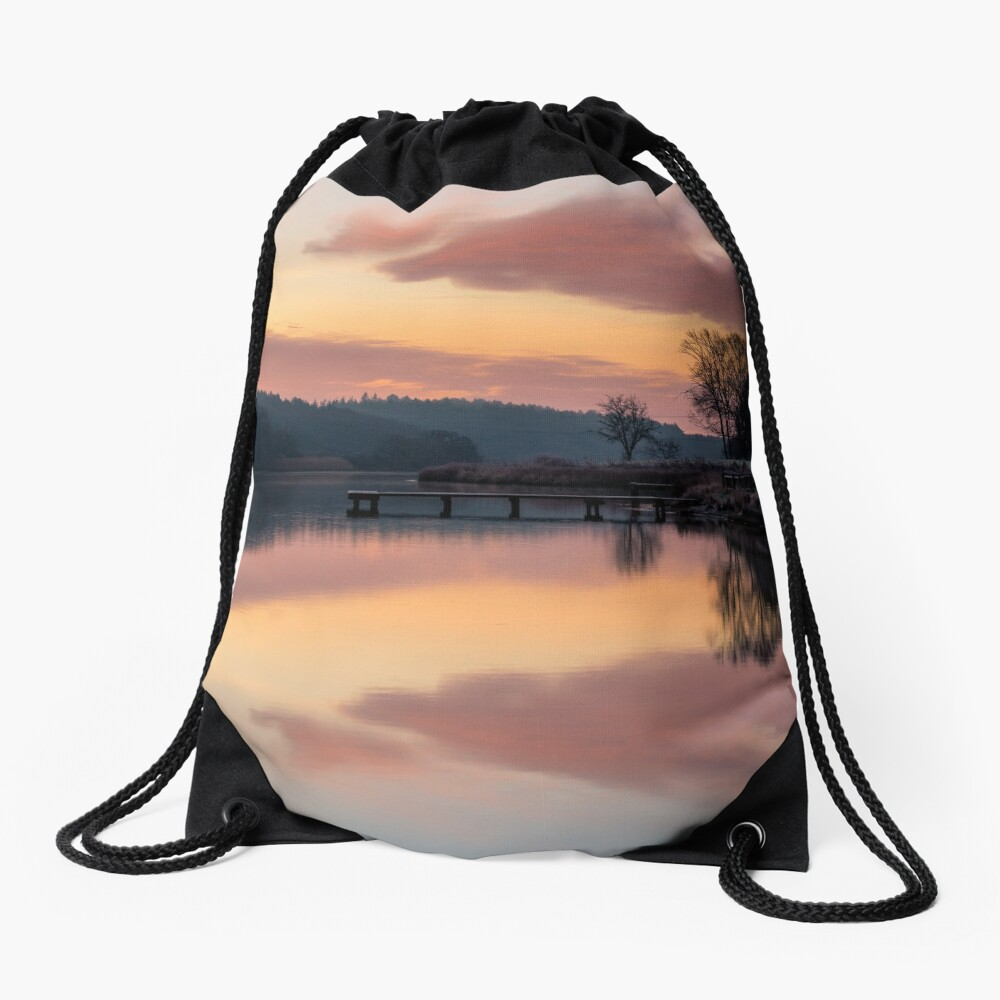 Dawn At The Old Millpond Drawstring Bag