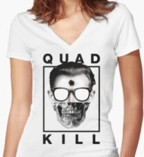 Quad Kill - White Women's Fitted V-Neck T-Shirt