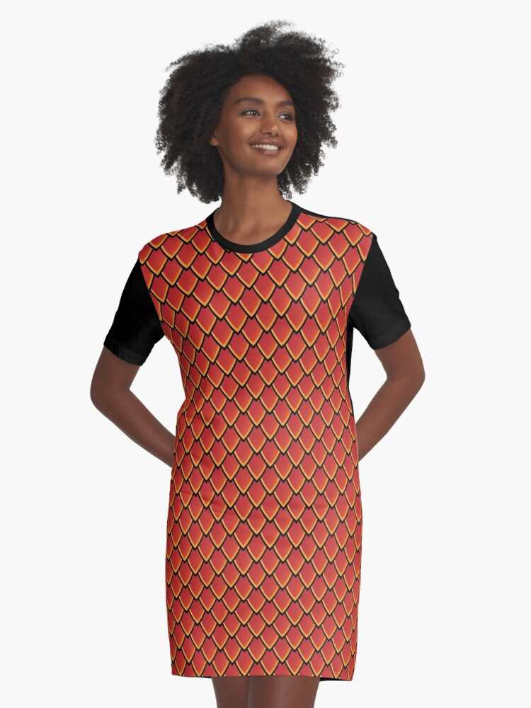 'Dragon Scales (Red)' Graphic T-Shirt Dress by Thomas Knapp