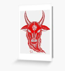 BLOOD RED BAPHOMET Greeting Card