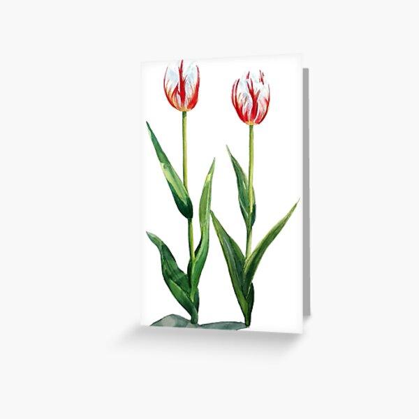 original textile art card Spring Tulip