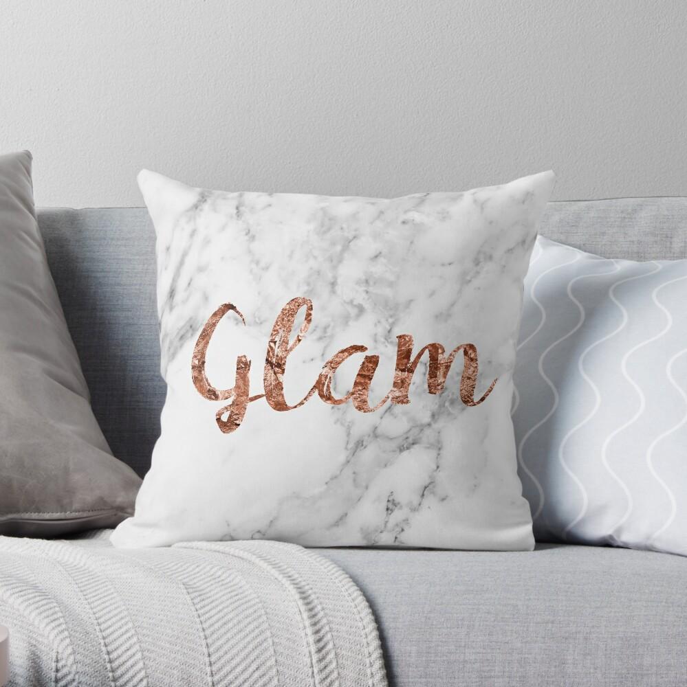 Rosa oro mármol glam Cojín