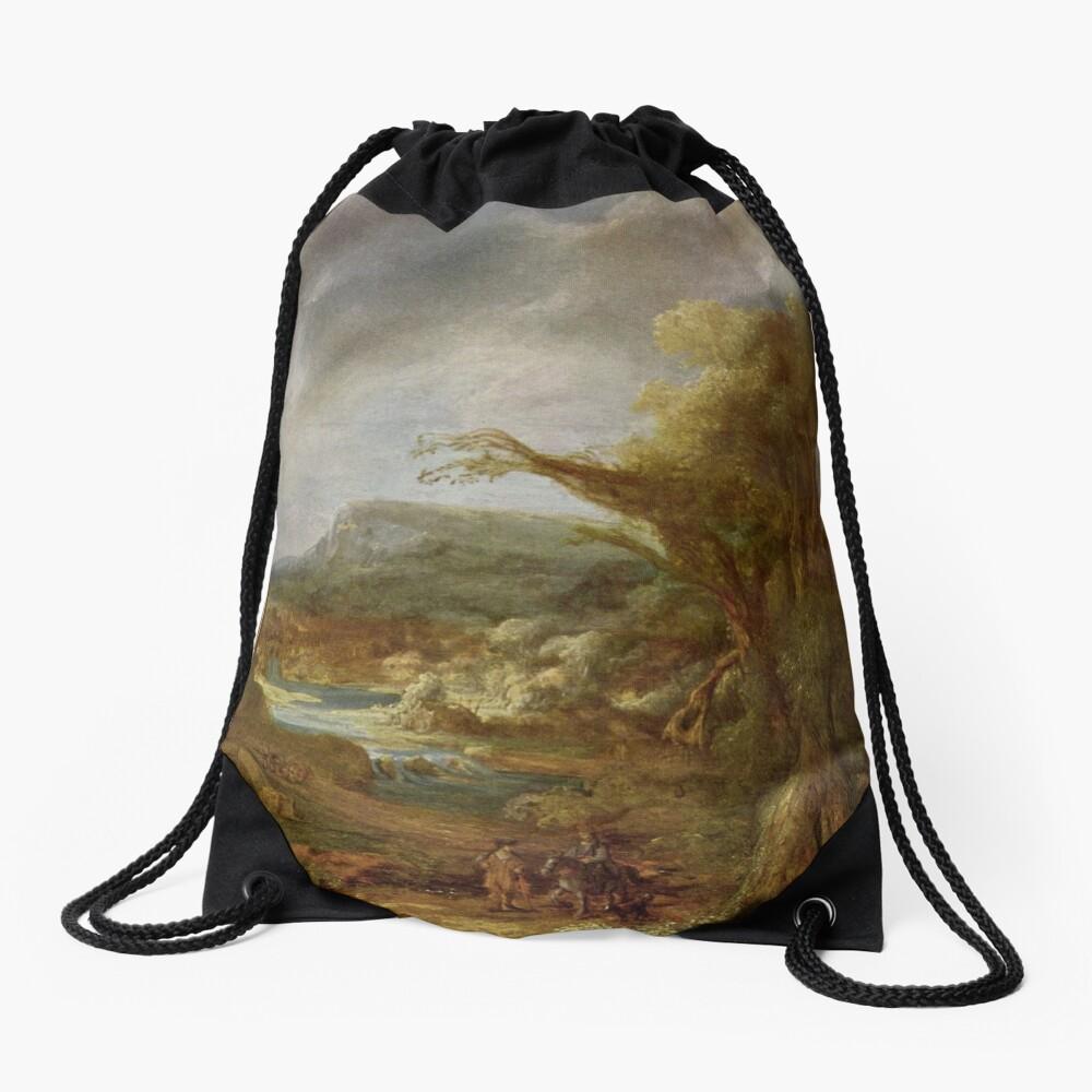 Stolen Art - Landscape with an Obelisk by Govert Flinck Drawstring Bag