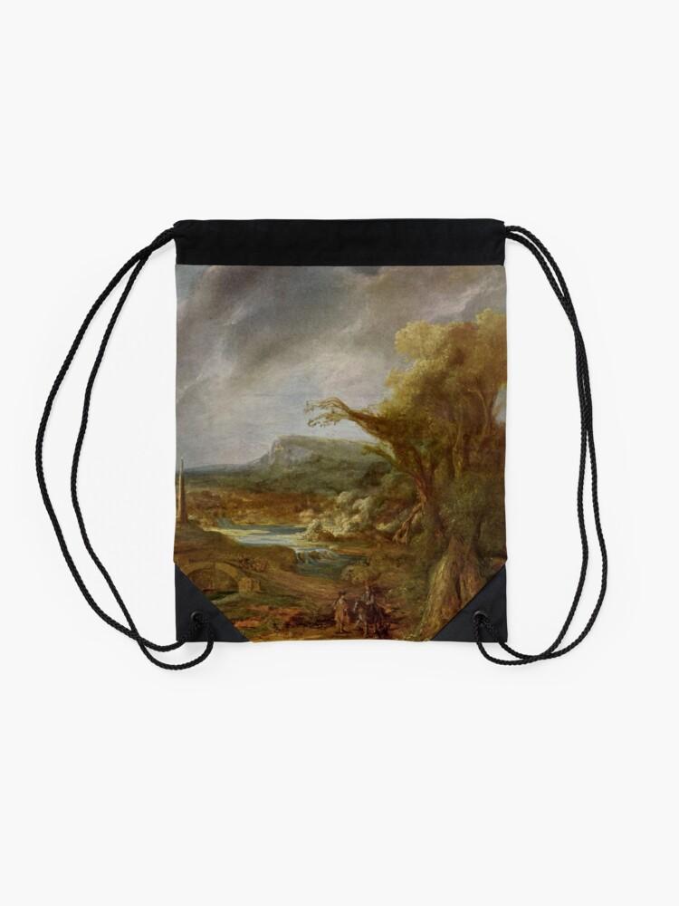Alternate view of Stolen Art - Landscape with an Obelisk by Govert Flinck Drawstring Bag