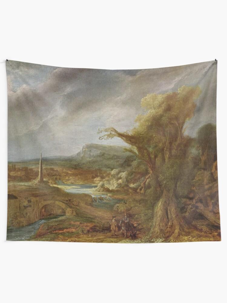 Alternate view of Stolen Art - Landscape with an Obelisk by Govert Flinck Tapestry
