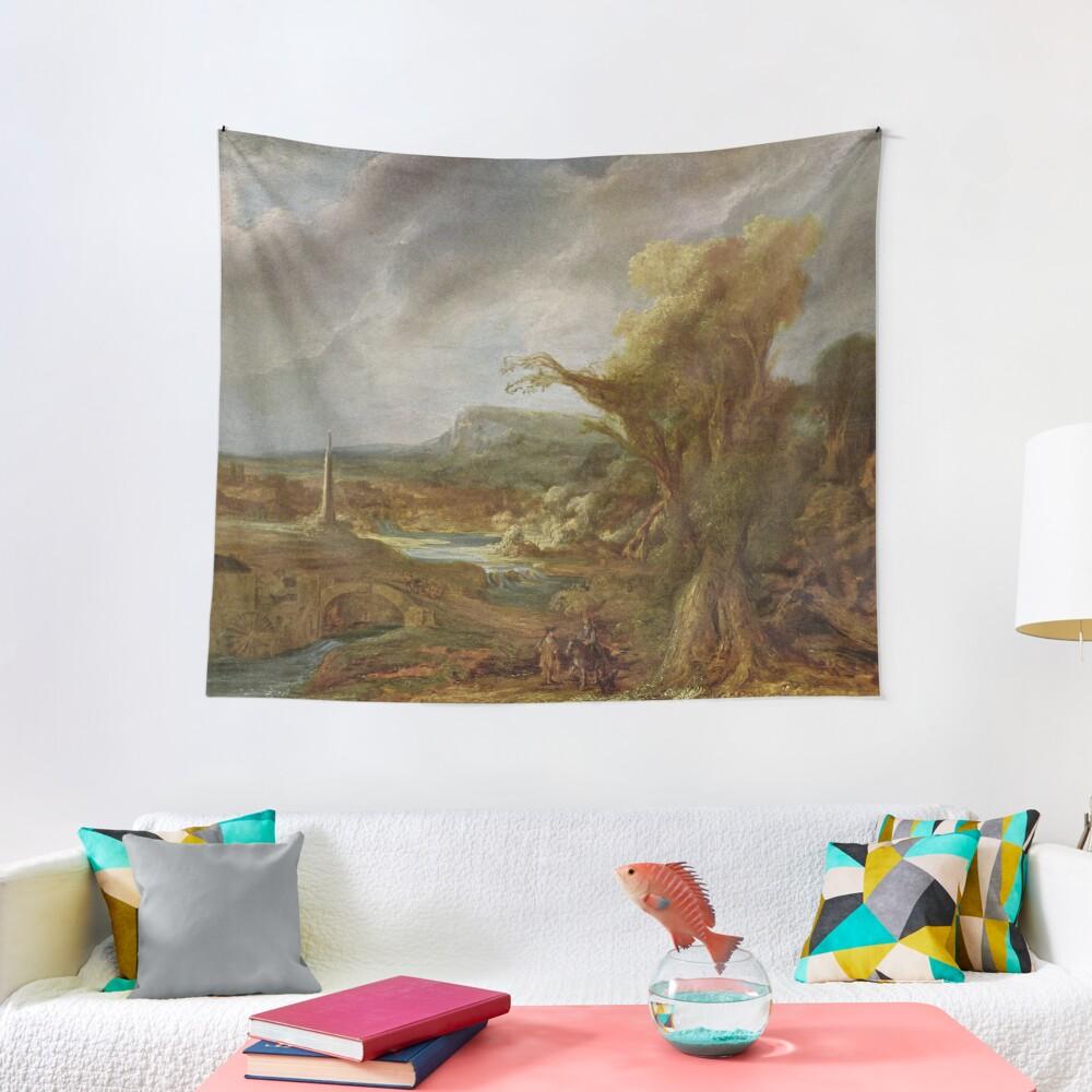Stolen Art - Landscape with an Obelisk by Govert Flinck Tapestry