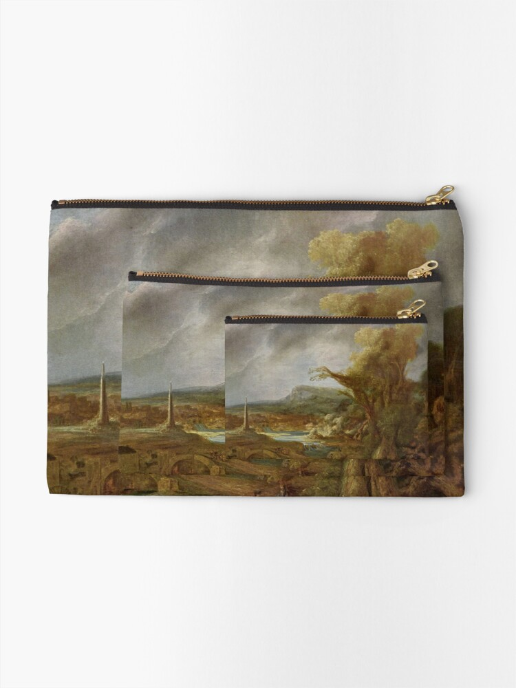 Alternate view of Stolen Art - Landscape with an Obelisk by Govert Flinck Zipper Pouch