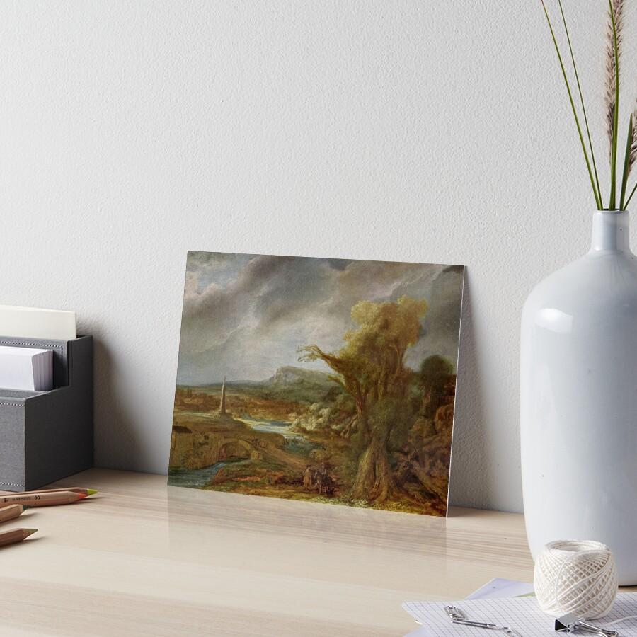 Stolen Art - Landscape with an Obelisk by Govert Flinck Art Board Print
