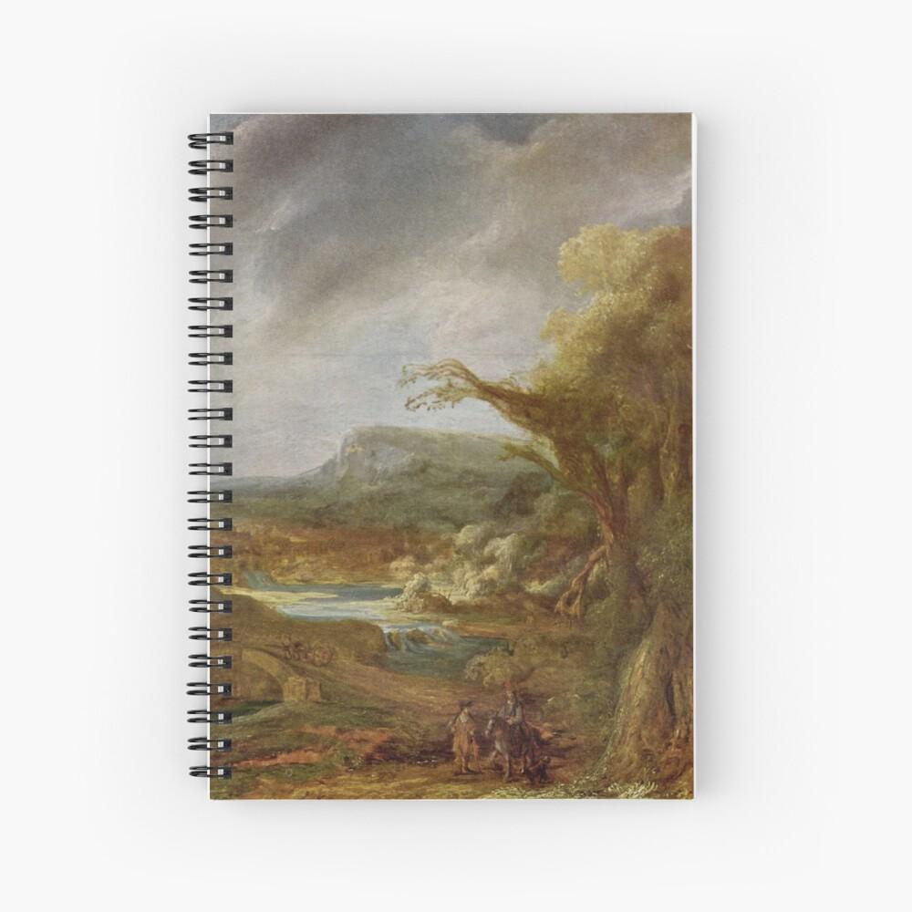 Stolen Art - Landscape with an Obelisk by Govert Flinck Spiral Notebook