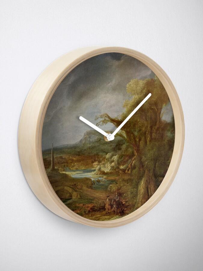 Alternate view of Stolen Art - Landscape with an Obelisk by Govert Flinck Clock