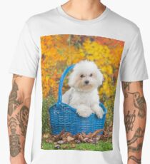 Cute white Bichon Frise puppy sitting in a basket Men's Premium T-Shirt