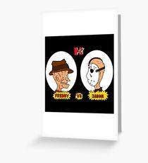 Horror TV Freddy vs Jason Greeting Card