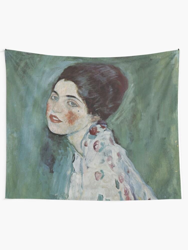 Alternate view of Stolen Art - Portrait of a Lady by Gustav Klimt Tapestry
