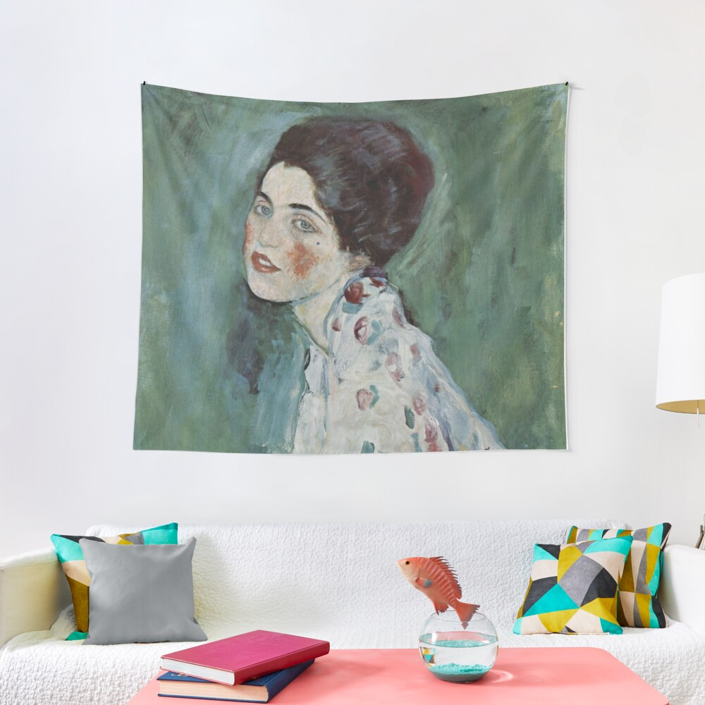 Stolen Art - Portrait of a Lady by Gustav Klimt Tapestry