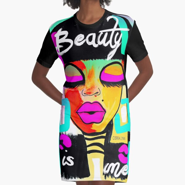 BEAUTY IS ME Graphic T-Shirt Dress