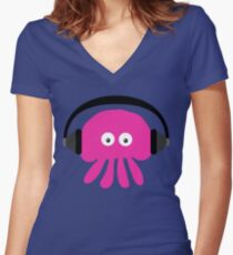 Pink Jellyfish with Headphones Women's Fitted V-Neck T-Shirt
