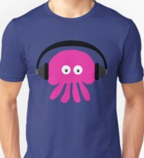 Pink Jellyfish with Headphones Unisex T-Shirt