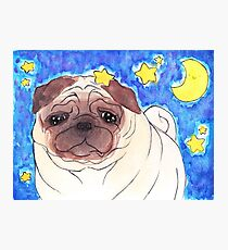 Wrinkly Pug Watercolor Photographic Print