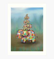 elephant jumble Art Print
