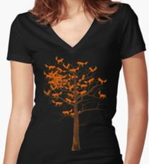 Blazing Fox Tree Fitted V-Neck T-Shirt