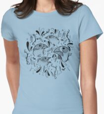 Fine Finches (linework) Womens Fitted T-Shirt