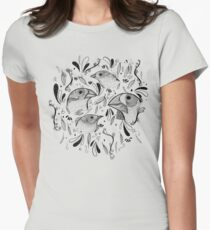Fine Finches (linework) Women's Fitted T-Shirt