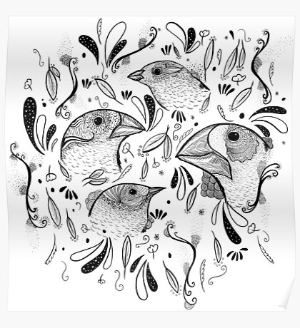 Fine Finches (linework) Poster