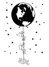 End of the Line - Earth Escape Hatch Astronauts - black - image only by jitterfly