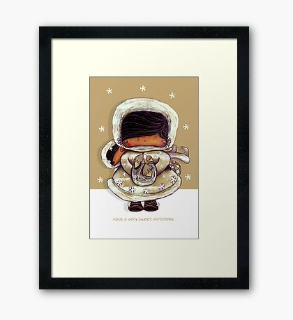 Christmas Card Snow Flower Framed Print