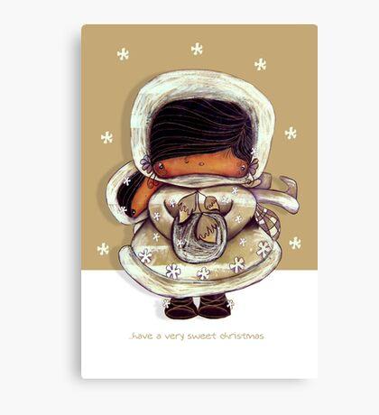 Christmas Card Snow Flower Canvas Print