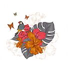 Parrot on a rose - Butterflies / Butterfly by casualforyou