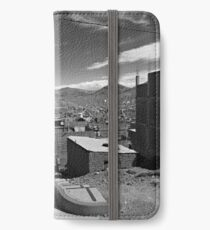 City Scene, Puno, Peru - Black & White iPhone Wallet