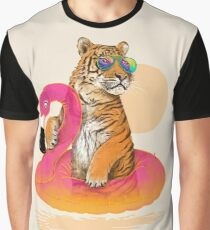 Chillin, Flamingo Tiger Graphic T-Shirt