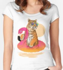 Chillin, Flamingo Tiger Women's Fitted Scoop T-Shirt