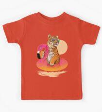Chillin (Flamingo Tiger) Kids Tee