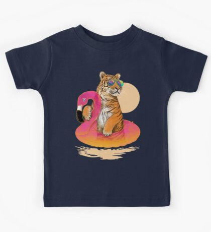 Chillin (Flamingo Tiger) Kids Clothes