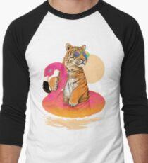 Chillin, Flamingo Tiger Men's Baseball ¾ T-Shirt