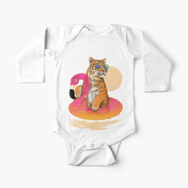 Chillin, Flamingo Tiger Long Sleeve Baby One-Piece