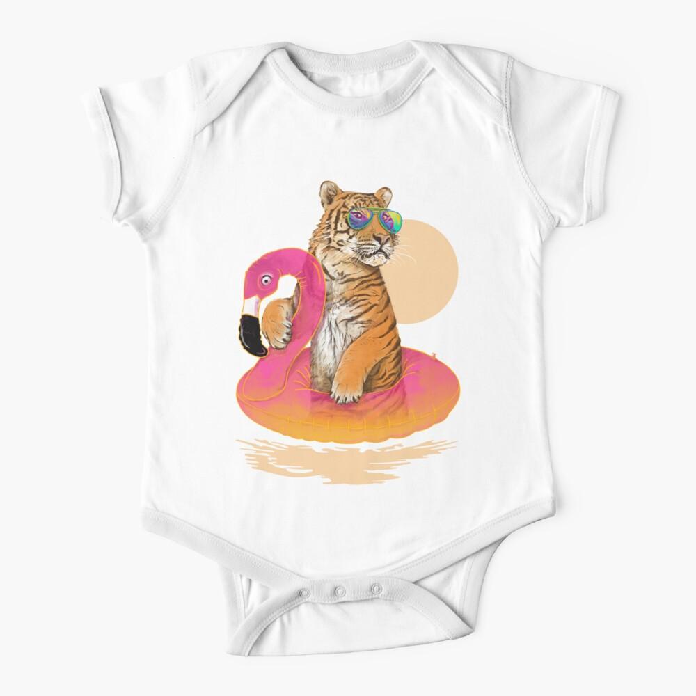 Chillin, Flamingo Tiger Baby One-Piece