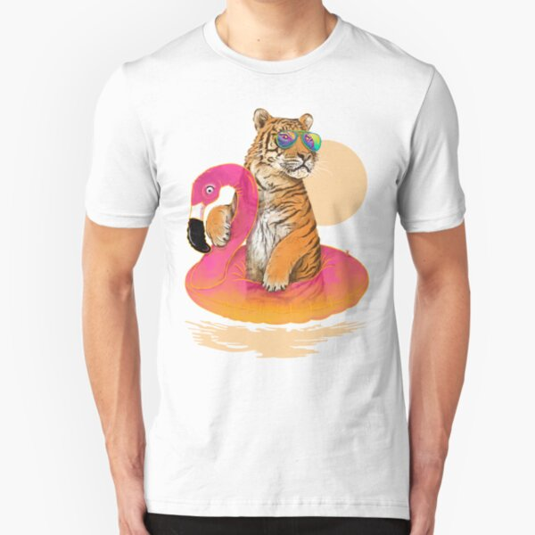 Chillin, Flamingo Tiger Slim Fit T-Shirt
