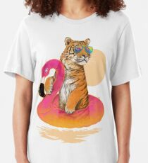 Chillin, Flamingo-Tiger Slim Fit T-Shirt