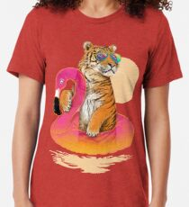 Chillin, Flamingo-Tiger Vintage T-Shirt