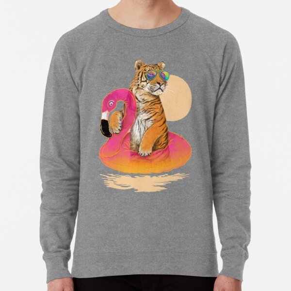Chillin, Flamingo Tiger Lightweight Sweatshirt