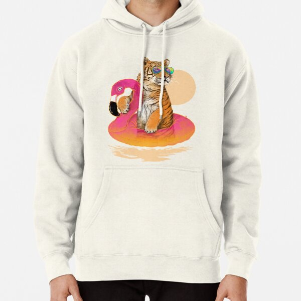 Chillin, Flamingo Tiger Pullover Hoodie