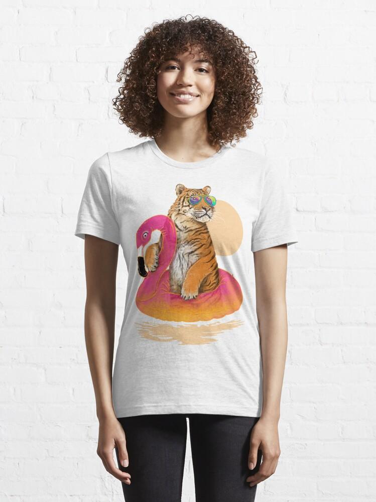 Alternate view of Chillin, Flamingo Tiger Essential T-Shirt