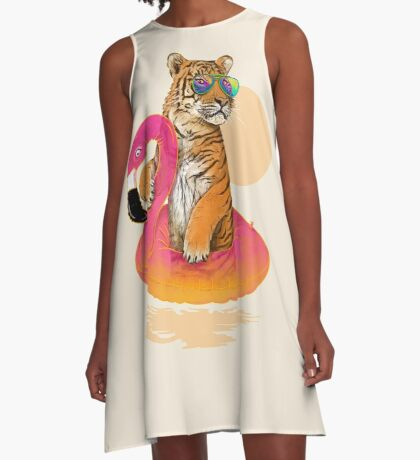 Chillin (Flamingo Tiger) A-Line Dress