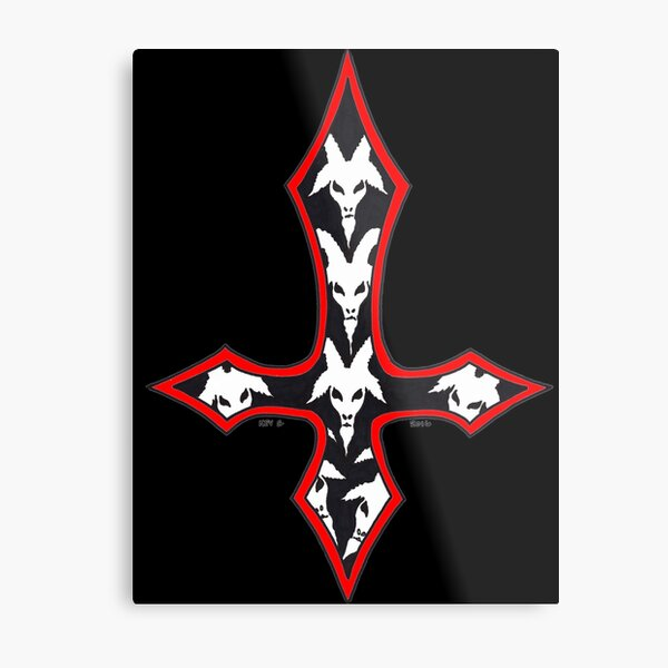 INVERTED RED GOAT CROSS - Art By Kev G Metal Print