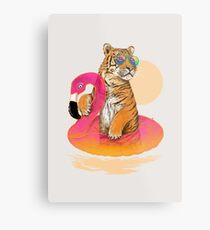 Chillin, Flamingo Tiger Metal Print