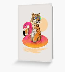 Chillin (Flamingo Tiger) Greeting Card