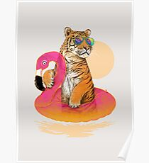 Chillin, Flamingo Tiger Poster